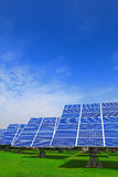 Solar Panel with green grass and blue sky Royalty Free Stock Image