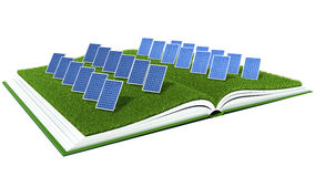Solar Panel with green grass on book Stock Images