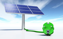 Solar panel with a green plug Royalty Free Stock Photo