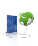 Solar panel for green and renewable energy. Save the world with alternative energy. Europe and Africa view vector illustration