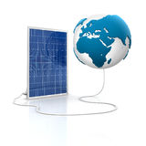 Solar panel for green and renewable energy. Save the world with alternative energy. Europe and africa view Stock Photo