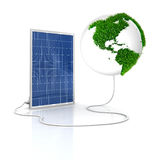Solar panel for green and renewable energy. Save the world with alternative energy. America view with grass surface vector illustration