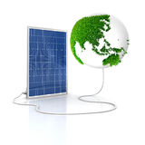 Solar panel for green and renewable energy. Save the world with alternative energy. Asia and Oceania view with grass surface stock illustration