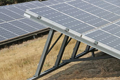 Solar panel grids at an energy conversion solar park Stock Photos