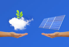 Solar Panel with hand, green plant, sky and cloud Stock Images