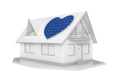 Solar panel heart on roof Stock Photo