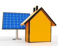 Solar Panel By Home Shows Renewable Energy Stock Photos