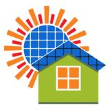 Solar panel home - vector illustration with sun and house. Vector illustration of solar panel with sun and house on white background stock illustration