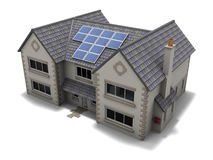 Solar Panel House. An image of a house with solar panels installed on its roof Stock Photo