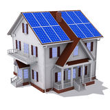 Solar panel house. Render of solar panel on roof house isolated Royalty Free Stock Photos