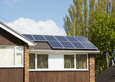 Solar panel on house roof. Solar panels installed on house roof Royalty Free Stock Image