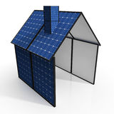 Solar Panel House Shows Renewable Energy Royalty Free Stock Images