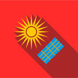 Solar panel icon, flat style. Solar panel icon. Flat illustration of solar panel vector icon for web Stock Photo
