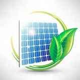 Solar panel icon with leaves Royalty Free Stock Photo
