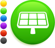 Solar panel icon on round internet button Stock Images