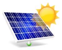 Solar Panel icon. Solar Panel icon with sun  on white Stock Photo
