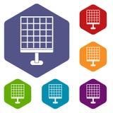 Solar panel icons set hexagon. Isolated vector illustration Stock Photo
