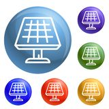 Solar panel icons set vector royalty free illustration