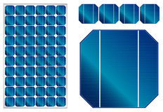 Solar panel illustration with detailed cells Stock Images