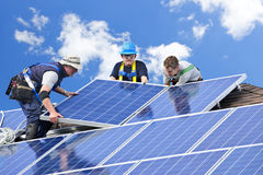 Solar panel installation stock photo