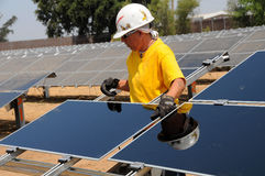 Free Solar Panel Installation 2 Stock Photography - 7085502