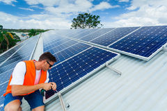 Solar panel installation Royalty Free Stock Image