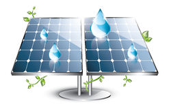 Solar panel set with drops Stock Images