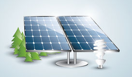 Solar panel installation with lightbulb. Solar panel installation with fluorescent lightbulb in the nature Royalty Free Stock Photography