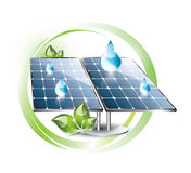 Solar panel set. Solar panel installation in the nature as label Stock Image