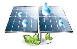 Solar panel set. Solar panel installation in the nature with blue drops Royalty Free Stock Photos