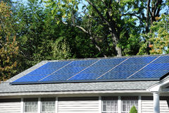 Solar panel installed on the house roof Royalty Free Stock Photography