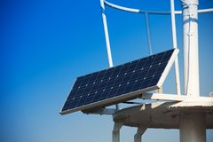 Solar panel installed on the roof. With sky on background Stock Images