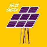 Solar Panel Isolated on Yellow Background. Vector Illistration Stock Photos