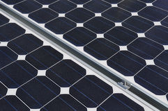 Solar panel and joining clamp fixings Stock Images