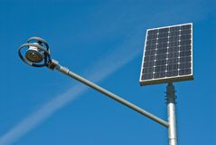 Solar panel and lamp Royalty Free Stock Photos
