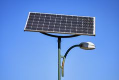 Solar panel and lamp royalty free stock photo
