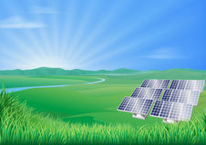 Solar panel landscape illustration Stock Photo