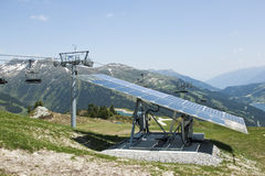Solar panel at Latschenalm, Gerlos, Austria Royalty Free Stock Photo