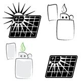 Solar panel and lighter symbols set Stock Photography