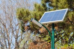 Solar panel located in the park Royalty Free Stock Photography