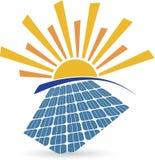 Solar panel logo. Illustration art of a solar panel logo with isolated background stock illustration
