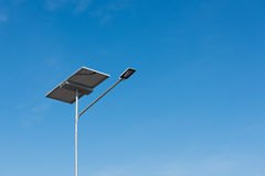 Solar panel and luminaire of lighting pole, Electricity. Stock Photography