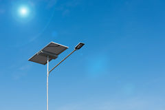 Solar panel and luminaire of lighting pole, Electricity. Stock Image
