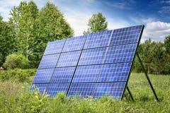 Solar panel on meadow Stock Photo