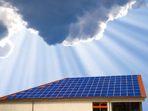 Solar panel modern home goof. The roof of a modern home - with  solar panel Stock Image