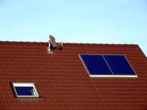 Solar Panel Modern Home Roof royalty free stock photo