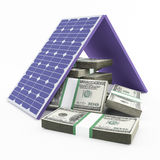 Solar panel and money Royalty Free Stock Image