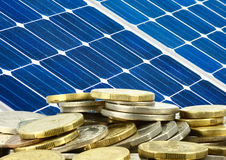 Solar panel and money saving Stock Photos
