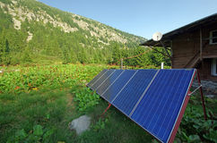 Solar panel on mountain Stock Photography