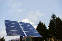 Solar panel in a mountain region Royalty Free Stock Images